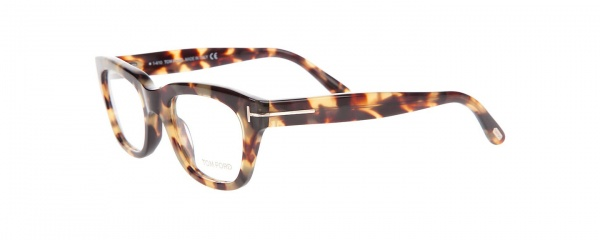thick framed eyeglasses in light tortoiseshell by tom ford
